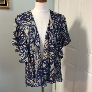 Abstract boho flutter sleeve coverup top kimono